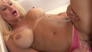 Wicked blonde cougar seduces stepson